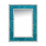 DecorShore 24' x 18' Crackled Glass Jewel Tone Mosaic Wall Mirror, Framed Rectangular Decorative Vanity Mirror, Accent Mirror, Gemstone Look (Turquoise)
