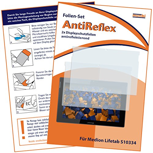mumbi Schutzfolie kompatibel mit Medion Lifetab S10334 / S10346 / S10366 Folie matt, Bildschirmschutzfolie (2X)