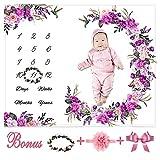 certainoly Bebé mensual Milestone Blanket-Floral Plush Fleece Baby Photography...