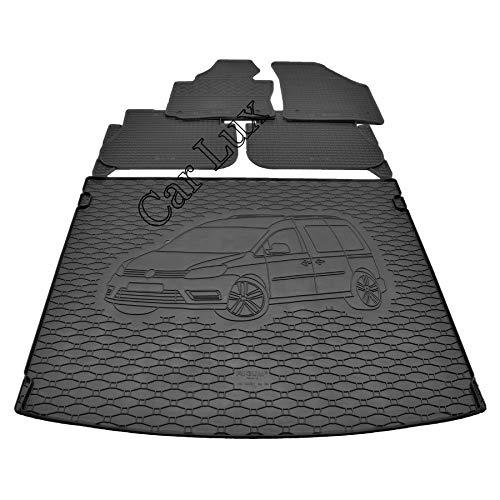 Car Lux AR05949 - Protector alfombra maletero + Alfombras Alfombrillas de goma a medida para Caddy desde 2004-