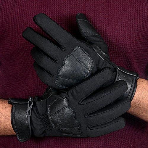 Foxter Winter Sport Fietsen/Skieën/Snowboarden/Motorfiets Echt Leer Thermische Handschoenen met Thinsulate & Hipora Voering Winddicht/Waterdicht