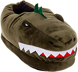 2. Silver Lilly Plush T-Rex Dinosaur Slippers