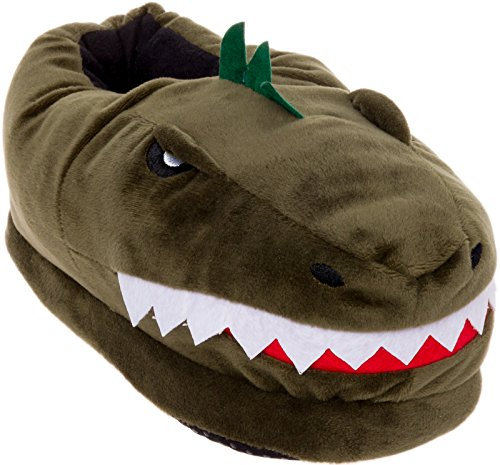 Silver Lilly Dinosaur Slippers - Plush T-Rex Slippers w/Memory Foam Support (Green, Large)