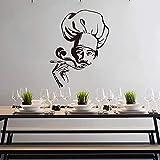 Tianpengyuanshuai Calcomanía de Pared de Chef Moderno, Cocina de Sopa, Comedor, Cocina, Chef, calcomanía de Pared, decoración de Vinilo para Restaurante -67x51cm