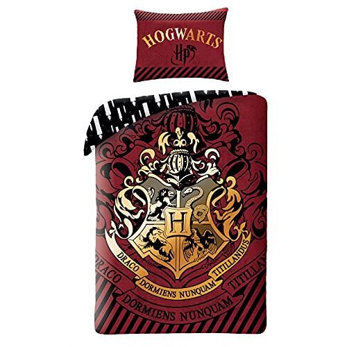 Halantex Juego de cama de Harry Potter, 140 x 200 cm, funda nórdica de 70 x 90 cm, funda de almohada, 100% algodón, Ron Hogwarts, Hermione Hufflepuff Ravenclaw