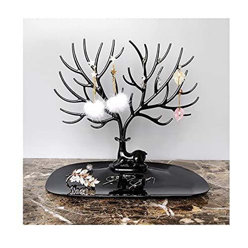 Aroong Negro ciervo cuernos joyería titular ciervo árbol joyería torre soporte para pendientes collar joyería organizador exhibición