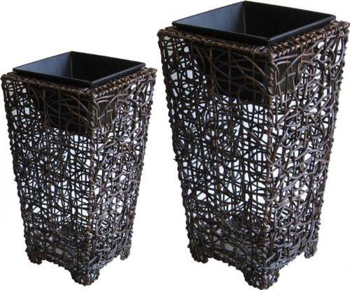 Vase en rotin, métal et polypropylene, série de 2, JVA130S