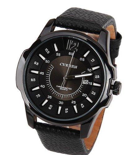 Denis charm marca orologio Curren 8123nero placcato con pelle nera Sstrap data Display Fashion & Casual marca analogico al quarzo