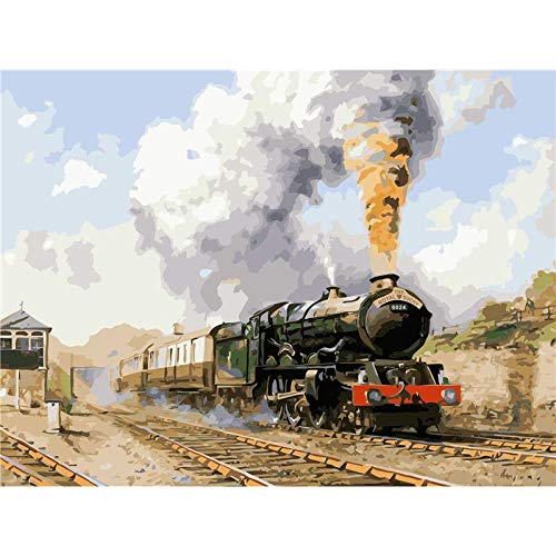 Thfff Retro Treno A stoomreiniger, Natura taart om te knutselen van Te By Nummers Wall Art Picture acrylverf, 40 x 50 cm Con Cornice 40x50cm