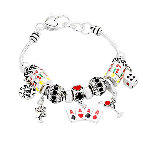Lola Bella Gifts Casino Poker Black Jack Ace Spades Theme Charm Bracelet w Gift Box