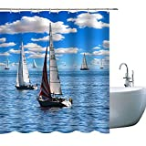 Elite ETSPY Sailboat Shower Curtains Fleet Sails Under The Clear Sky, Cloth Fabric Bathroom Decor Set with Hooks, 71X 71 in