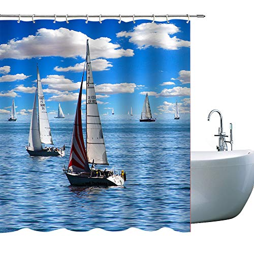 Sailboat Shower Curtains Fleet Sails Under The Sky, Cloth Fabric Bathroom Decor Set with Hooks, 71X 71 in