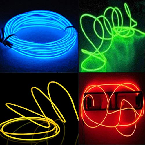 EL Wire, 4er-pack El Kabel- EFK Leuchtkabel Neon Wire Leuchtende Strobing Elektrolumineszenz-El-Draht (Blau, Grün, Rot, Gelb) mit 3 Modi Batterie-Controller