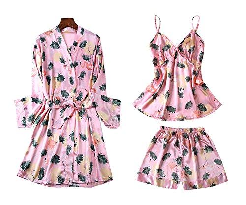 Dragon Troops Traje de Tres Piezas Pijama de Verano para Mujer, Kimono de Estilo japonés, T2