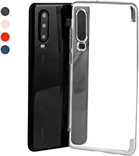 Tersely Huawei P30 Plating Hybrid Case Cover, Crystal Clear Anti-Yellow Thin Slim Fit Stylish Silicone Bumper Edge Reinforced Shockproof Case Cover Anti-Scratch for Huawei P30 (6.1 inch) - Silver