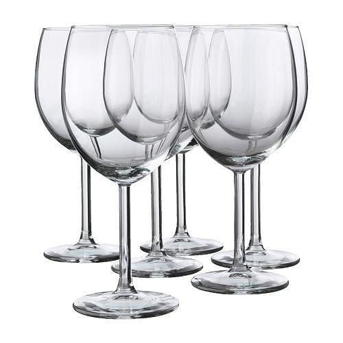 """IKEA 6-er Set Rotweinglas \""""SVALKA\"""" Gläserset mit sechs Rotweingläsern - mit 30cl Inhalt - 18cm hoch - spülmaschinenfest"""