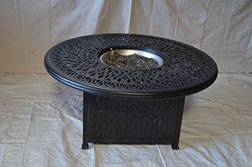 theWorldofpatio Elizabeth Cast Aluminum Powder Coated 52' Dining Table with Propane Firepit- Antique Bronze