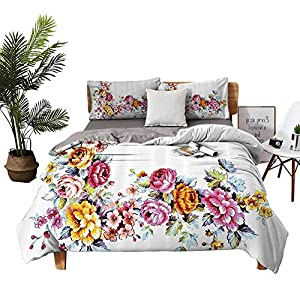 DRAGON VINES 4 Bedding Cover Set Bed Sheets Bedclothes Flat Sheet Illustration of Vintage Flowers Bouquet Flourishing Vibrant Watercolors Romantic Art Multicolor Soft Comfortable