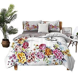 Silk Flower Arrangements DRAGON VINES 4 Bedding Cover Set Bed Sheets BedclothesFlat Sheet Illustration of Vintage Flowers Bouquet Flourishing Vibrant Watercolors Romantic Art Multicolor Soft Comfortable