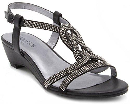LONDON FOG Womens Macey Demi-Wedge Dress Sandals Black 9.5 M US