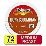 Folgers 100% Colombian Coffee, Medium Roast, K Cup Pods for Keurig Coffee Makers, 72 Count, Packaging May Vary