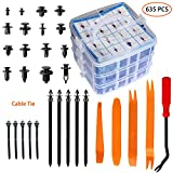 Car Retainer Clips Fasteners Cars Body Kits 16 Most Popular Sizes 635 PCS Plastic Car Door Panel Trim Clips Kit 1 Pcs Fastener Remover for Toyota GM Ford Honda Acura Chrysler