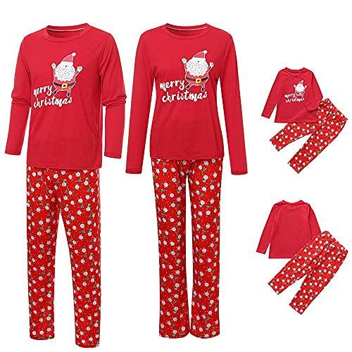 FeelFree+ Conjunto de Pijamas Familias Navideños para Hombre Mujer Niños Niña Bebe Santa Claus Tops y Pantalones Invierno Otoño Caliente Camisetas de Manga Larga Sudadera Chándal Casual Homewear
