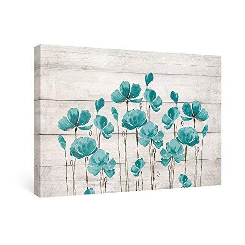 SUMGAR Cuadros en Lienzo Flores Verde Azulado Arte de Pared Impresiones Vintage Pinturas para Salón de Estar Dormitorio Decoración de Baño, 60x40cm