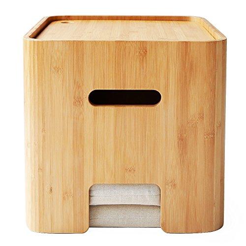 OSJ ドレッサー 収納ベンチ サイドテーブル 一物多用 天然楠竹製 座布団二枚付き (サイドテーブル)