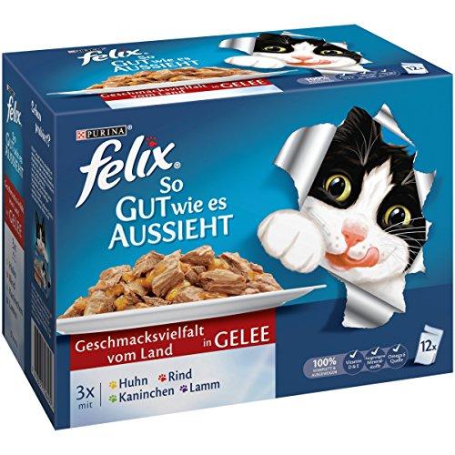 Felix Katzennassfutter So gut wie es aussieht in Gelee Geschmacksvielfalt vom Land, 6er Pack (6 x 12 x 100g) Portionsbeutel