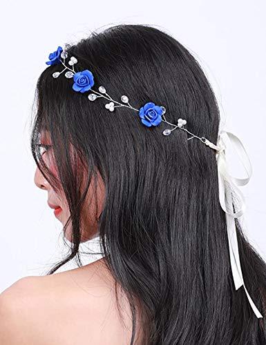 BERYUAN Diadema floral para mujer, color azul, para boda, accesorio para el pelo, regalo para su fiesta, diadema para novia, dama de honor