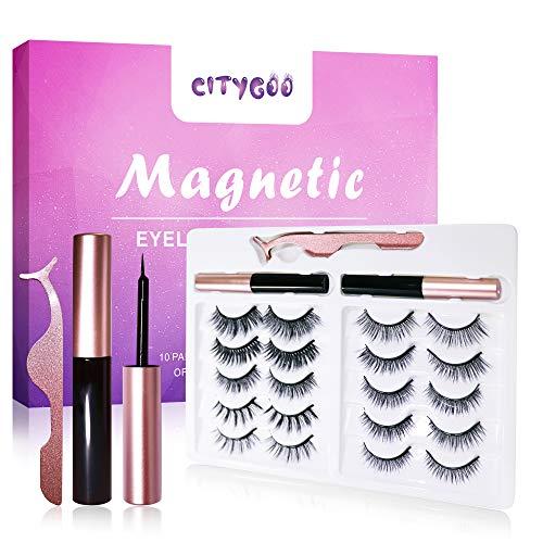 CITYGOO 2021 Upgraded Magnetic EyelashesKitand MagneticEyeliner,Magnetic Lashes Set 10 Pairswith Tweezers,Easy to Use
