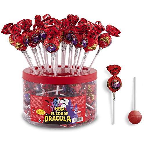 Cerdán Dracula Chupa Gigante Sabor Cereza Caramelos con Palo relleno de Chicle 45 Unidades de 20.2 g