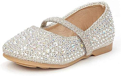 DREAM PAIRS MUY-Shine-INF Mary Jane Girls Rhinestone Studded Slip On Ballet Flats Toddler New Gold Size 5