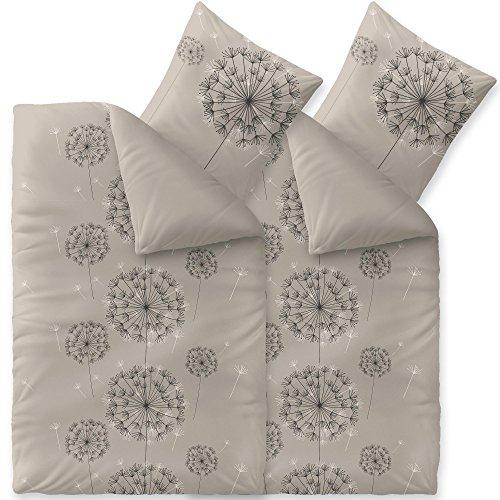CelinaTex Fashion Florence Bettwäsche 135 x 200 cm 4teilig Baumwolle Blumen Grau Schwarz Weiß