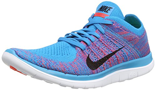 Nike Free 4.0 Flyknit, Herren Sportschuhe, Blau (Blue Lagoon/Bright Crimson/Game Royal/White), 45.5 EU