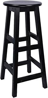 LGQ-LIFE Japanese Solid Wood Bar Chair, Retro Bar Stool High Stool Dining Chair Stool Footrest Retro Bar Stool Counter Café Kitchen Breakfast Pub(Assembly) (Color : Black, Size : 60cm)