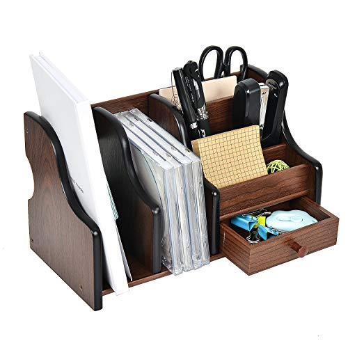 Liry Products Cherry Brown Wooden Desktop Organizer Stepped Racks Multiple Compartments Drawer Shelf Tabletop Storage Cabinet Solid Wood Stationery Holder Office Supplies Caddy Anti-Slip Sorter Home