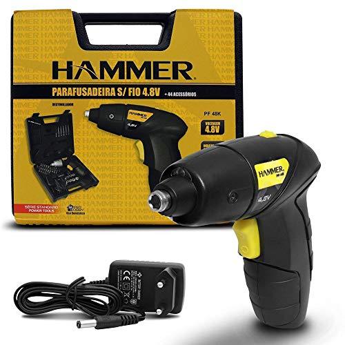 Parafusadeira sem Fio 4,8v Maleta 44 acessórios Bivolt Hammer