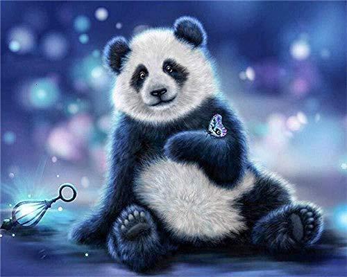 Kxch Malen nach Zahlen für Erwachsene Panda DIY Acrylgemälde-Set für Erwachsene Kinderpinsel Helle Farben 40x50 cm (Rahmenlos)