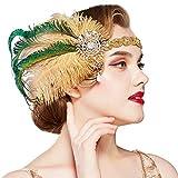 Coucoland Diadema de plumas de los años 20, con brillantes y perlas, estilo años 20, charlestón, ideal para disfraz de Gran Gatsby dorado Talla única