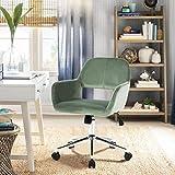Geniqua Office Chair Cactus Green Velvet Computer Chair Adjustable Mid Height Swivel Seat Gas Lift Modern