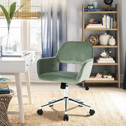 Geniqua Mid Back Swivel Office Chair Gas Lift Cactus Green Velvet Computer Desk Seat