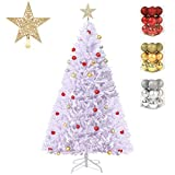 DAPIXA Artificial Christmas Tree Lifelike Christmas Tree with Decorations and Solid Metal Stand Premium Hinged Spruce Full Tree (White, 6ft)