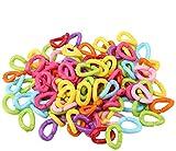 Zerodis 100 piezas Multicolor anillos ganchos C-clips de cadena de plástico para cochecito de bebé juguete de loros