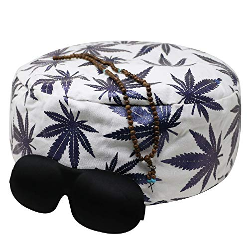 Buckwheat Meditation Cushion(Off-White) Plus Eye Mask, Mala Necklace, and E-Book - Improve Posture and Never Suffer from Numb Limbs Again | Use as a Zafu Yoga Bolster | Large One Size Fits All
