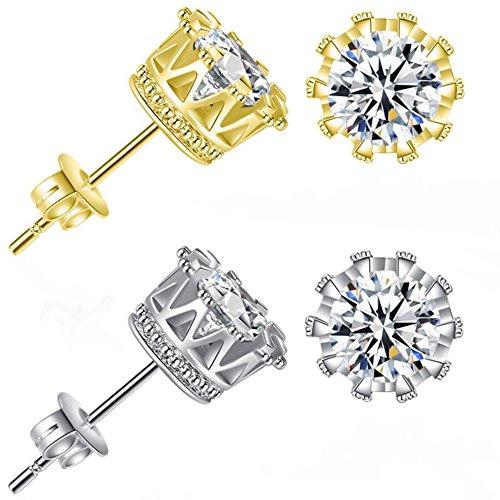 Gold Earrings for Men Women Mens Earrings Stud CZ Round Studs Earring Girls Crown Earrings 6mm 8mm 10mm Size