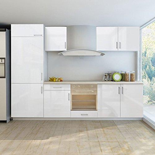 guyifuzhuangs Schränke Küchenschränke Küchenzeile für Einbaukühlschrank 7-TLG. Hochglanz Weiß 270 cm