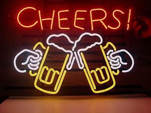 Real Glass Cheers - Luce al neon per birra, bar, pub, negozio, club, garage, casa, feste, 17 x 14 pollici (Cheers)