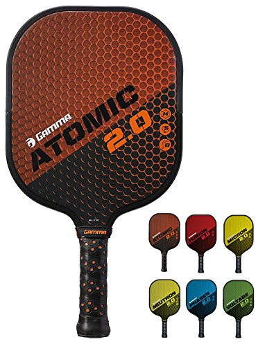 GAMMA Sports 2.0 Pickleball Paddles: Atomic 2.0 Pickleball Rackets - Textured Fiberglass Face - Mens and Womens Pickle Ball Racquet - Indoor and Outdoor Racket - Orange Pickle-Ball Paddle - 8 oz